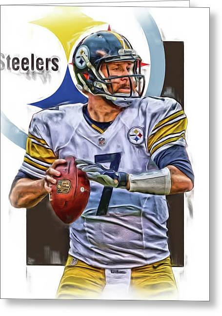Ben Roethlisberger Pittsburgh Steelers Oil Art Greeting Card