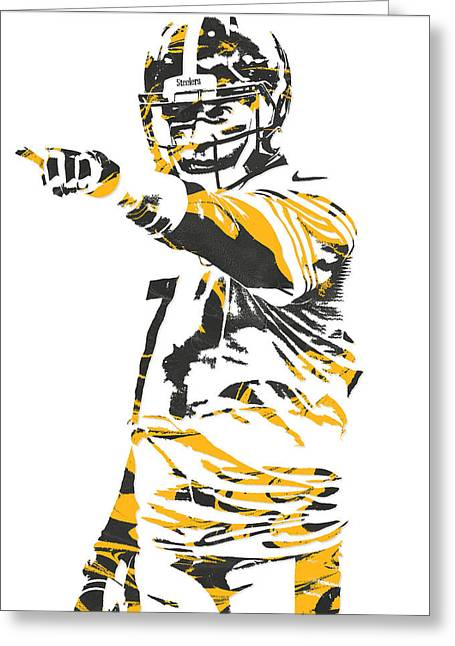 Ben Roethlisberger Pittsburgh Steelers Pixel Art 3 Greeting Card by Joe Hamilton