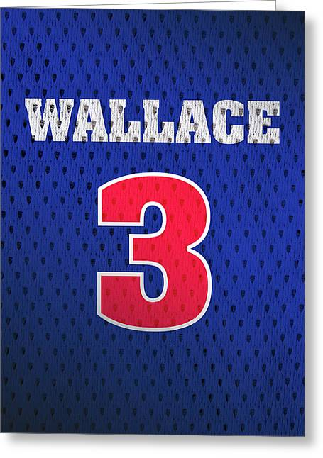 Ben Wallace Detroit Pistons Number 3 Retro Vintage Jersey Closeup Graphic Design Greeting Card