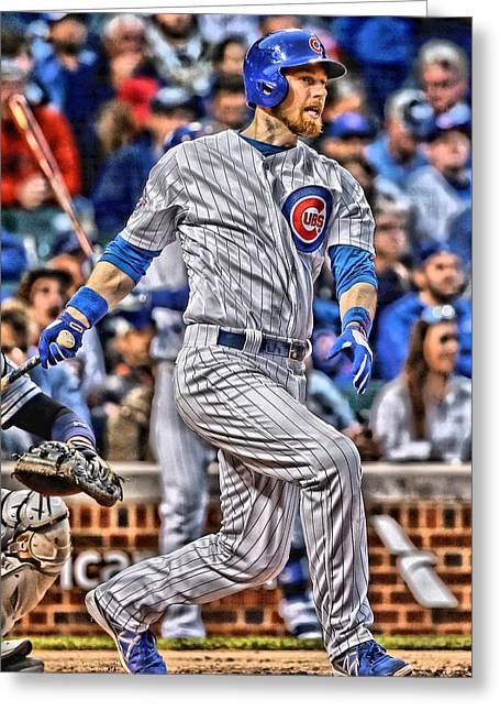 Ben Zobrist Chicago Cubs Greeting Card by Joe Hamilton