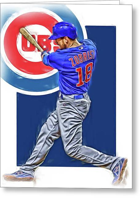 Ben Zobrist Chicago Cubs Oil Art Greeting Card by Joe Hamilton