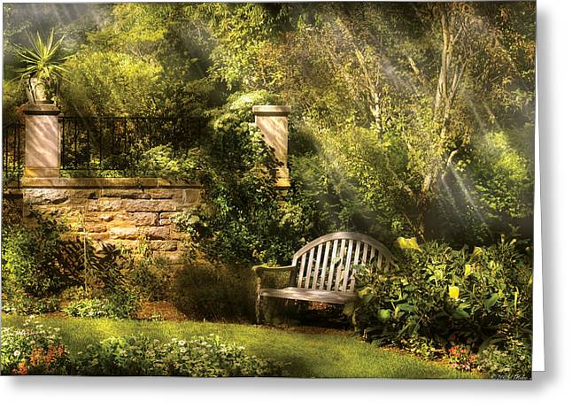 Bench - Edens Edge  Greeting Card by Mike Savad