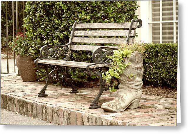 Bench And Boot 2 Greeting Card