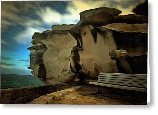 Bench And Huge Overhanging Rock Greeting Card by Ashish Agarwal