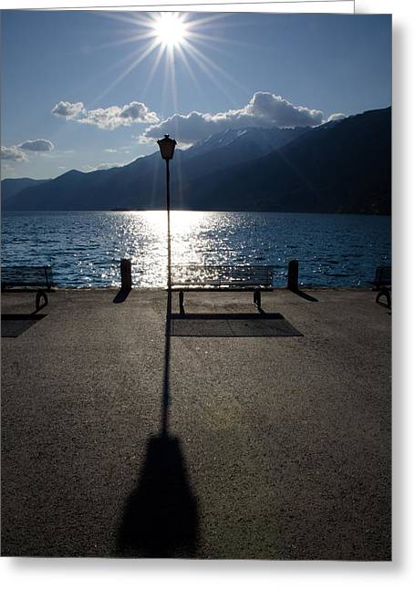 Swiss Photographs Greeting Cards - Bench and street lamp Greeting Card by Mats Silvan