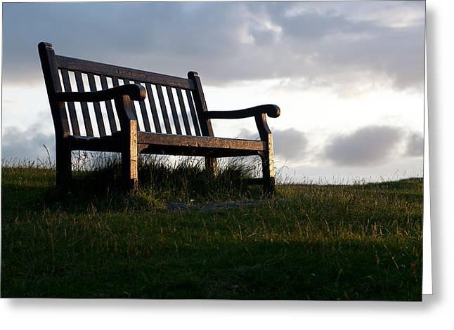 Bench At Sunset Greeting Card