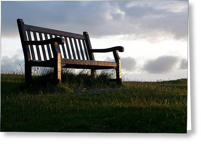 Bench At Sunset Greeting Card