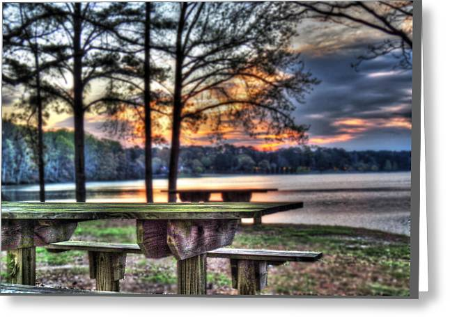 Bench By Lake Greeting Card