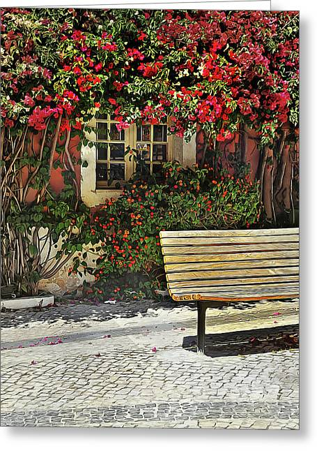 Bench By The Bougainvilla Greeting Card
