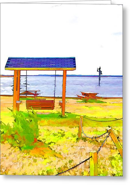 Bench In Nature By The Sea 3 Greeting Card by Lanjee Chee