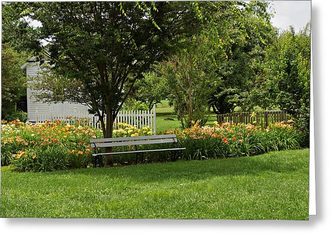 Bench In The Garden Greeting Card by Sandy Keeton
