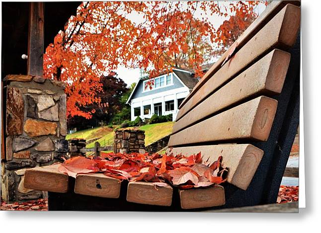 Bench Leaves Greeting Card