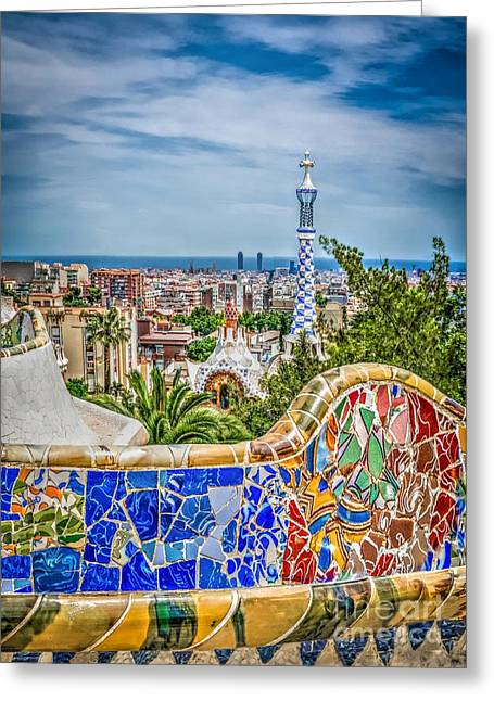 Bench Of Barcelona Greeting Card