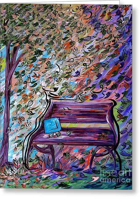 Bench On A Windy Day Greeting Card by Eloise Schneider