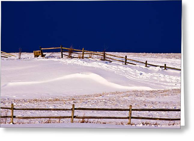 Greeting Card featuring the photograph Bench On A Winter Hill by Don Nieman