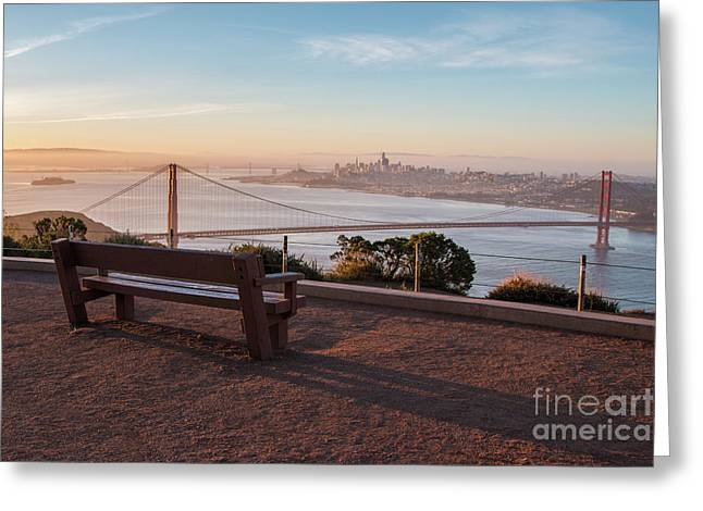 Bench Overlooking Downtown San Francisco And The Golden Gate Bri Greeting Card