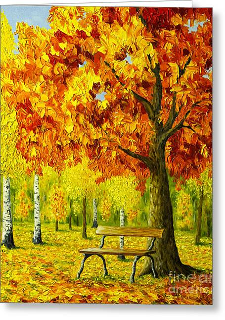 Bench Under The Maple Tree Greeting Card