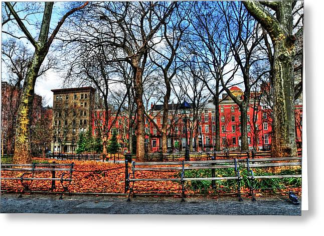 Greenwich Village Greeting Cards - Bench View in Washington Square Park Greeting Card by Randy Aveille