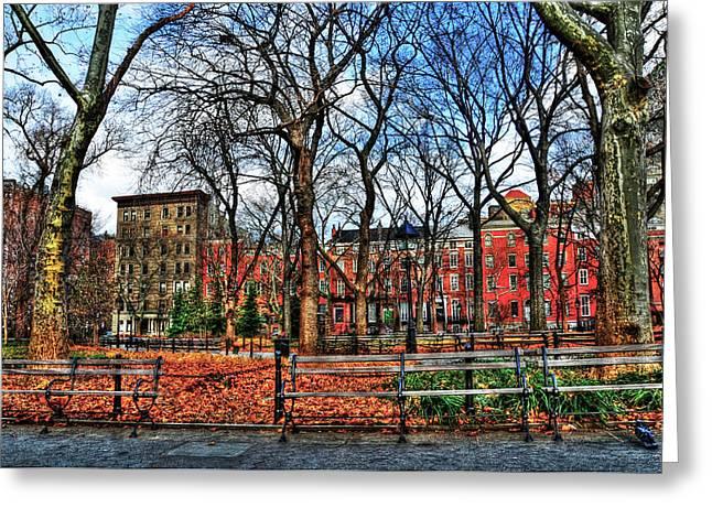 Washington Square Park Greeting Cards - Bench View in Washington Square Park Greeting Card by Randy Aveille