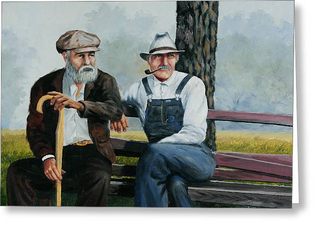 Bob Hallmark Greeting Cards - Bench Warmers Greeting Card by Bob Hallmark
