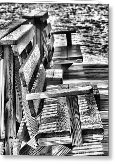 Benches By The Sea Greeting Card