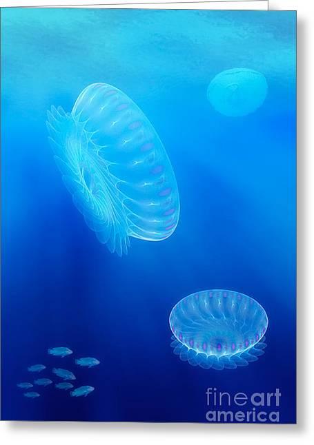 Beneath A Fractal Sea Greeting Card by John Edwards