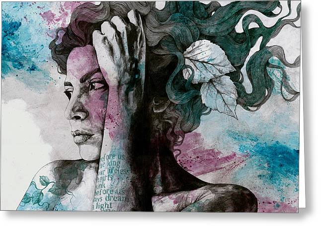 Beneath Broken Earth - Street Art Drawing, Woman With Leaves And Tattoos Greeting Card