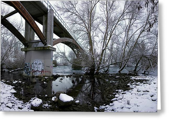 Beneath People's Park Bridge - Spokane Greeting Card by Daniel Hagerman