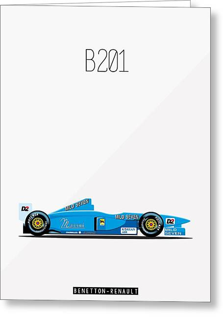 Benetton Renault B201 F1 Poster Greeting Card by Beautify My Walls