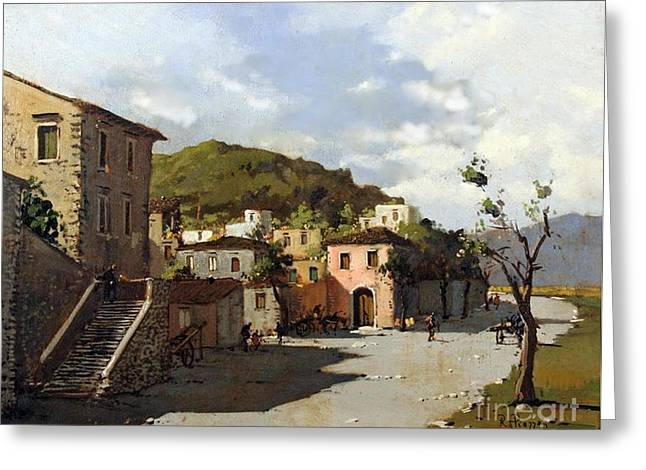 Provincia Di Benevento-italy Small Town The Road Home Greeting Card