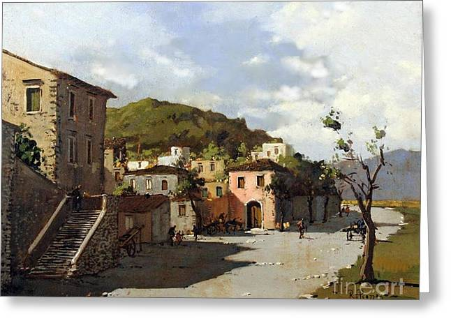 Greeting Card featuring the painting Provincia Di Benevento-italy Small Town The Road Home by Rosario Piazza