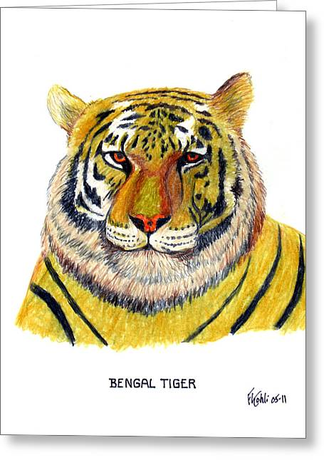 Bengal Tiger Greeting Card by Frederic Kohli