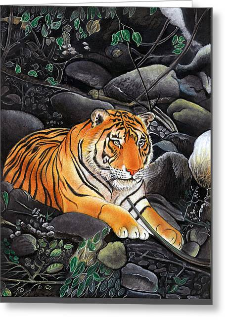 Bengal Tiger Wild Life Realistic Painting Miniature Watercolor Artwork Greeting Card by A K Mundra
