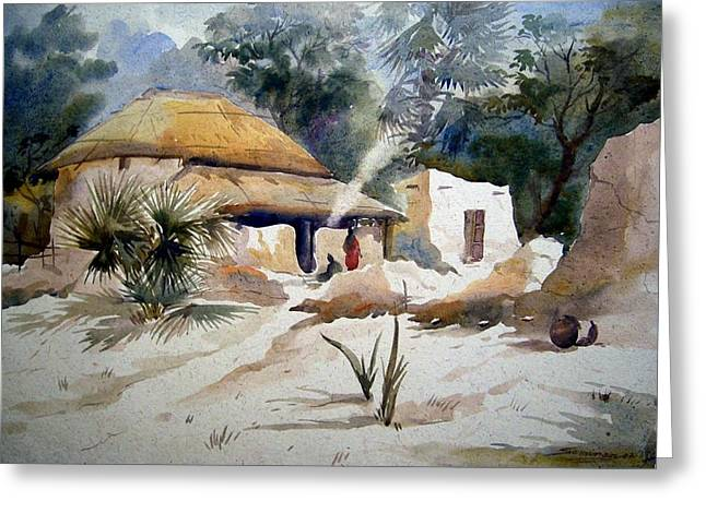 Bengal Village Greeting Card by Samiran Sarkar