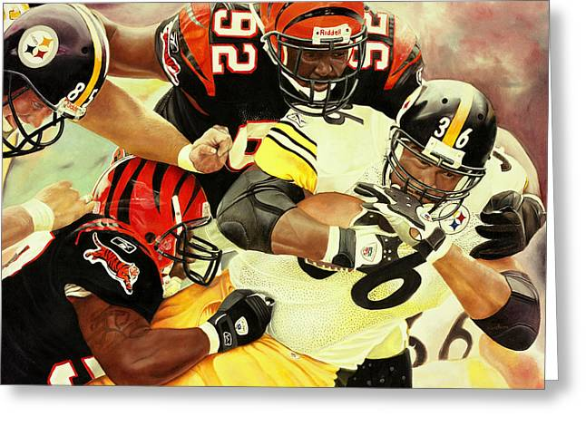 Bengals Vs Steelers Greeting Card by Douglas Fincham
