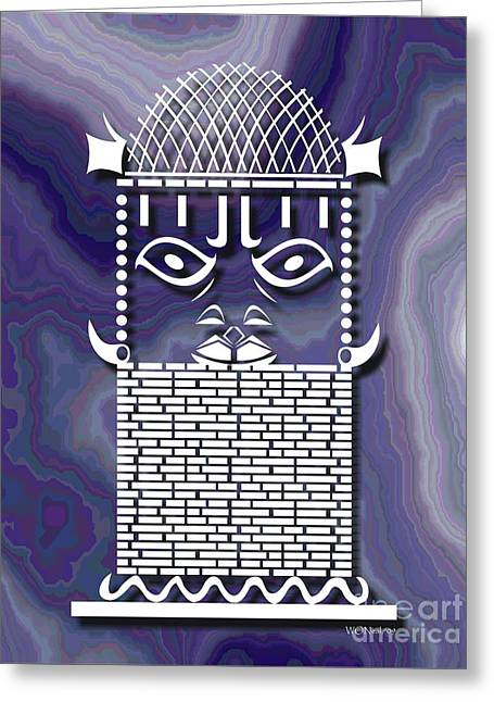 Benin Warrior King Greeting Card by Walter Oliver Neal