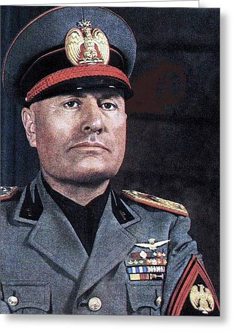 Benito Mussolini Color Portrait Circa 1935 Greeting Card