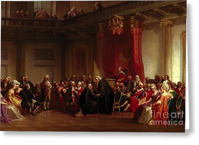 Benjamin Franklin Appearing Before The Privy Council  Greeting Card by Christian Schussele