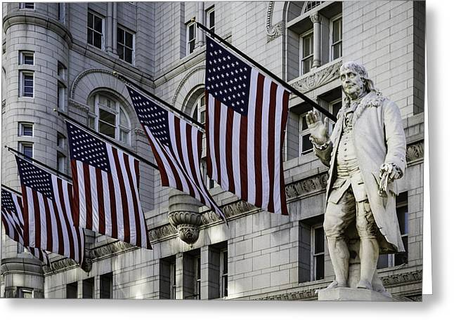 Benjamin Franklin At Old Post Office Greeting Card by Eduard Moldoveanu