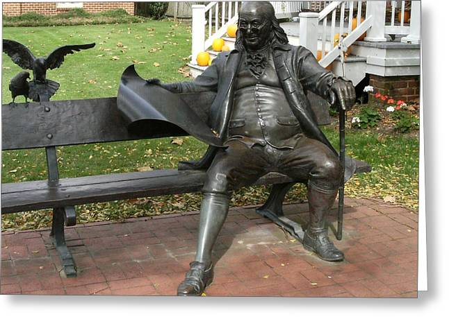 Benjamin Franklin In Our Town Greeting Card by Anne-Elizabeth Whiteway