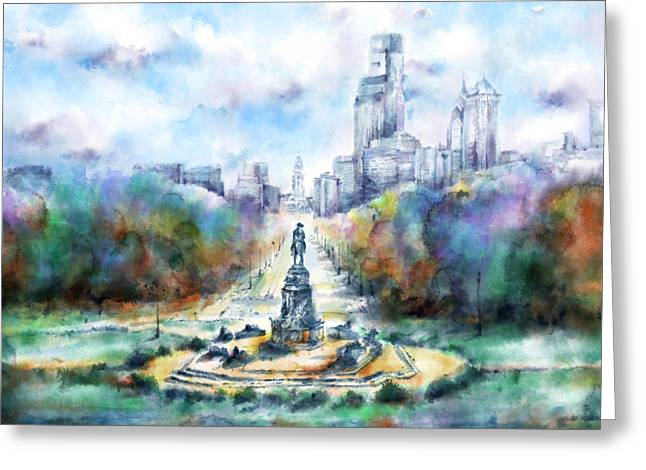 Benjamin Franklin Parkway 2 Greeting Card