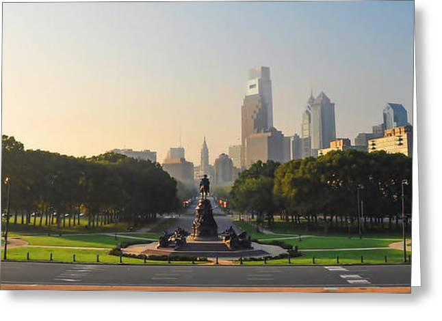 Benjamin Franklin Parkway View Greeting Card by Bill Cannon