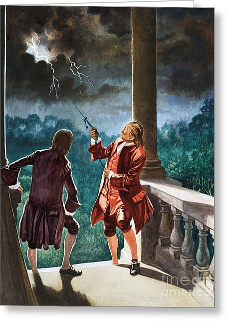 Benjamin Franklin Proves That Lightning Is Electricity Greeting Card by Peter Jackson