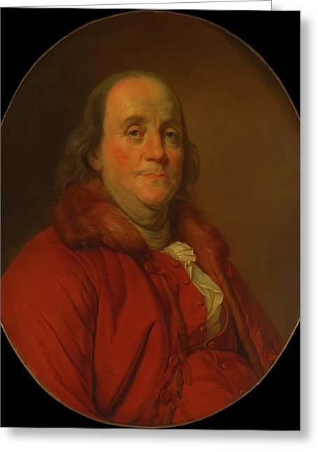 Greeting Card featuring the painting Benjamin Franklin by Workshop Of Joseph Duplessis
