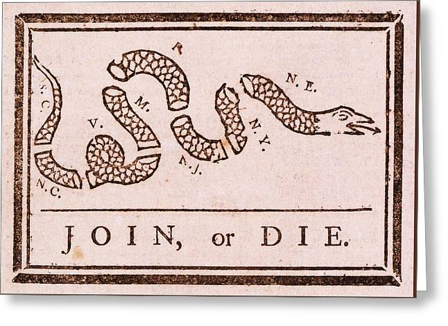 Benjamin Franklin's Join Or Die Political Cartoon Greeting Card by Janice