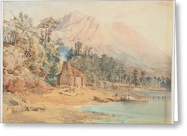 Bennells Store, Lake Wakatipu, 1866, By Nicholas Chevalier. Greeting Card