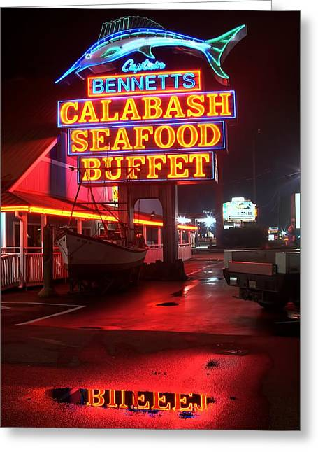 Photographers Ellipse Greeting Cards - Bennetts Calabash Seafood Buffet Myrtle Beach Greeting Card by Corky Willis Atlanta Photography