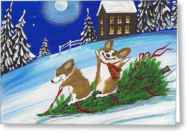 Bennie And Bunny Christmas Tree Ride Greeting Card by Margaryta Yermolayeva