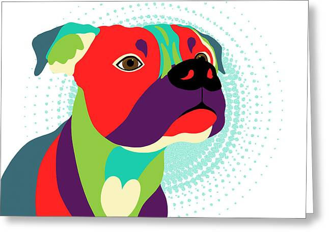 Bennie The Boxer Dog - Wpap Greeting Card by SharaLee Art