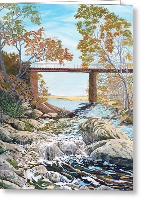 Bennington Riverbed Greeting Card by Gail Allen